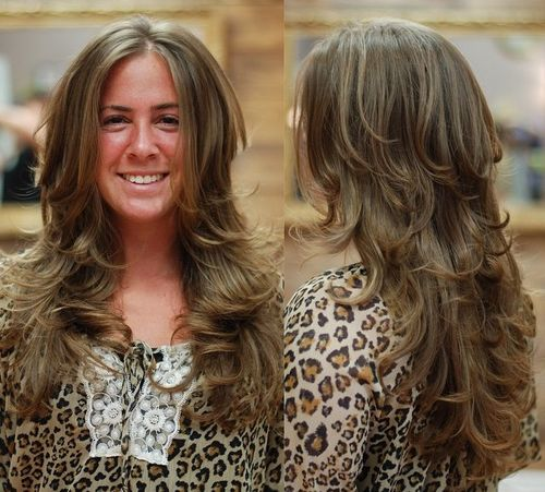 long layered brown hairstyle with highlights