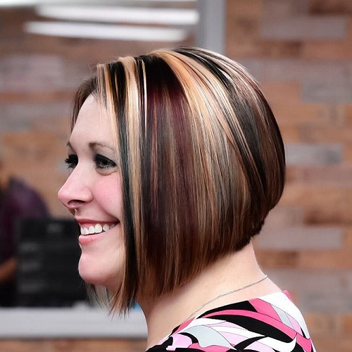 Brown Bob With Highlights And Lowlights