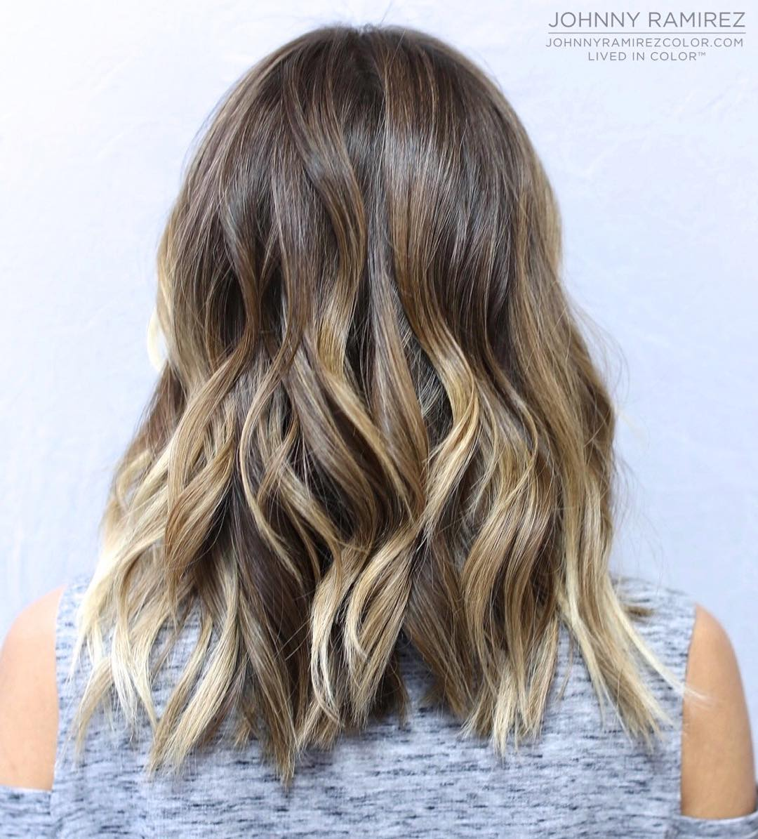 Wavy Brown Blonde Balayage Lob