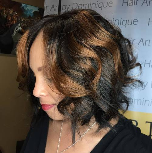 Black Wavy Bob With Caramel Highlights