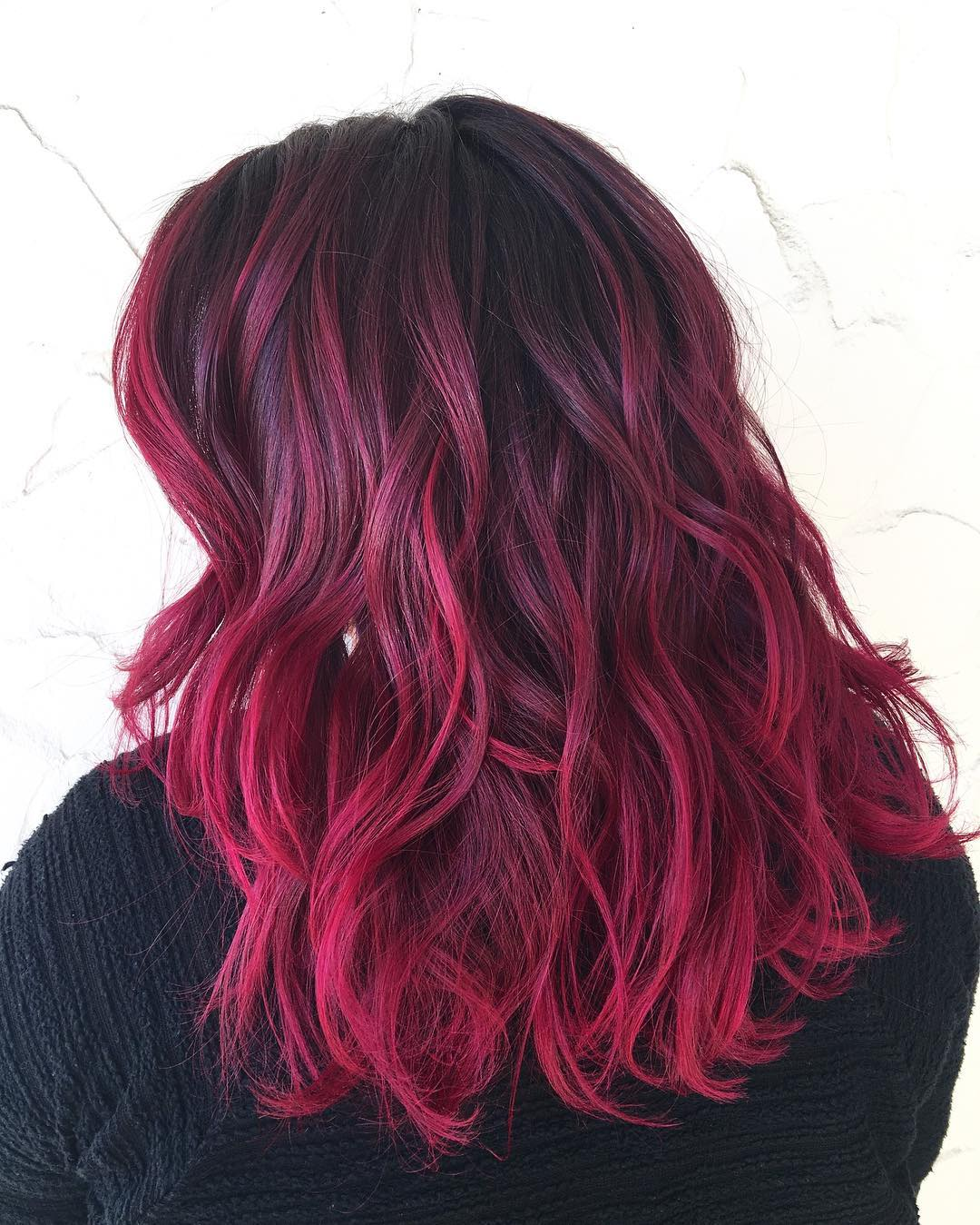 Burgundy Ombre Highlights For Black Hair