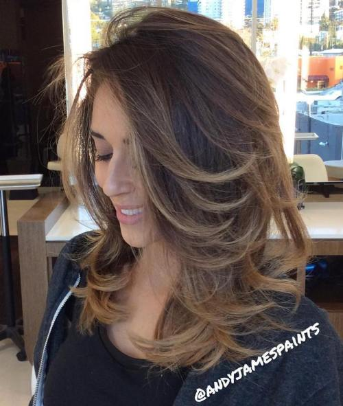 Layered Brown Balayage Hair