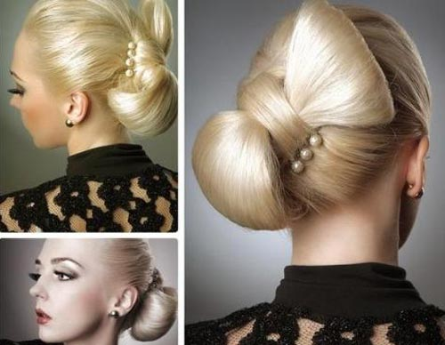 blond bow updo for prom