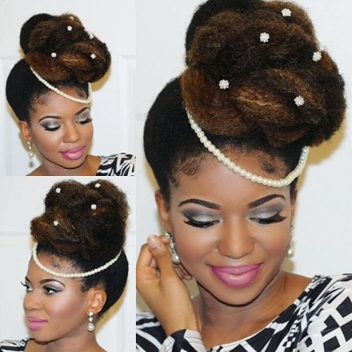 High Asymmetrical Bun For Natural Hair