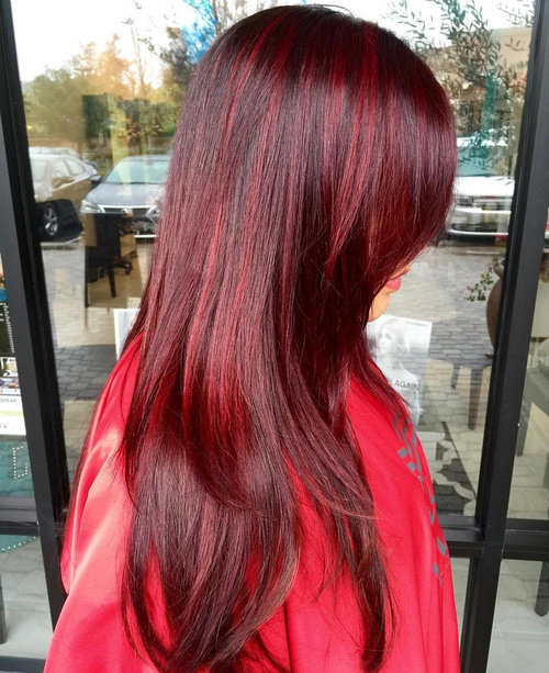 long layered cherry-red hairstyle