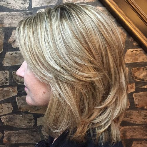 layered brown blonde hairstyle