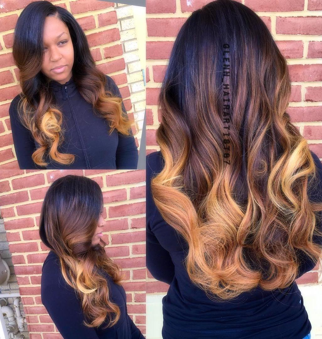 black to caramel ombre weave