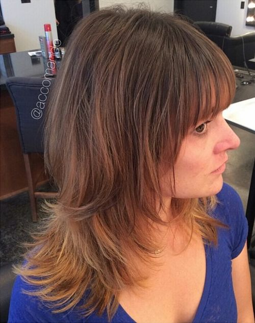 medium layered haircut with bangs for thin hair