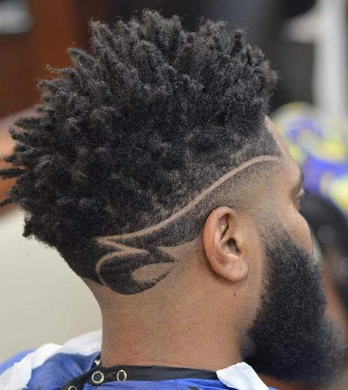 Black Long Top Fade With Designs
