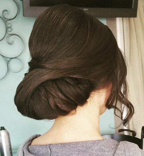 low prom updo with a bouffant for long hair