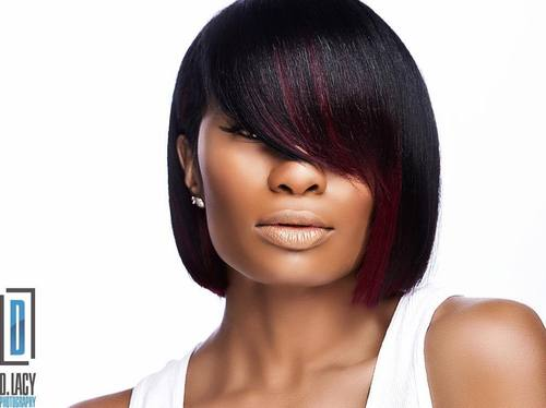 Black Blunt Bob With Burgundy Balayage