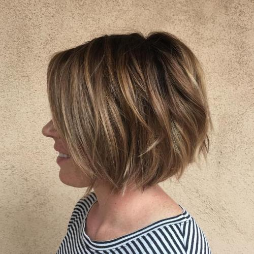 Brown Layered Bob With Highlights