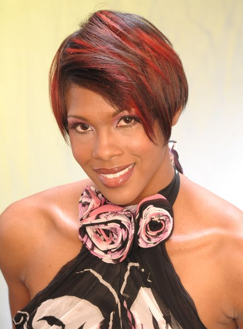 short hairstyle with red highlights for black women