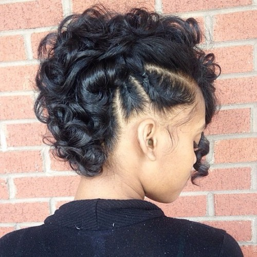 Curly Mohawk Updo With Side Braids