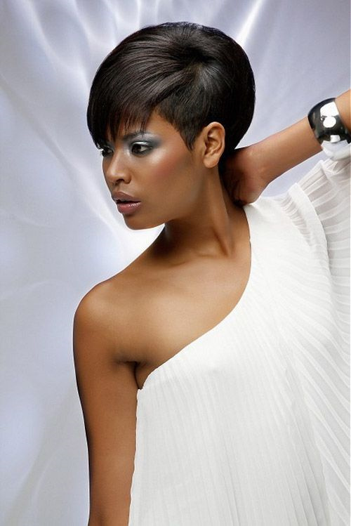 short asymmetric hairstyle for african american women