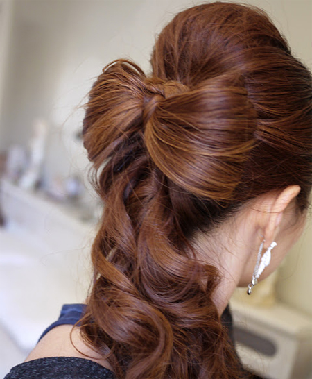 prom bow updo long hair