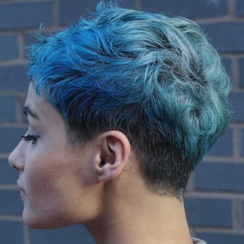Short Curly Pastel Blue Pixie