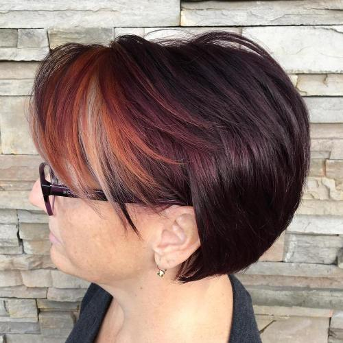 Short Brown Hairstyle With Red Bangs