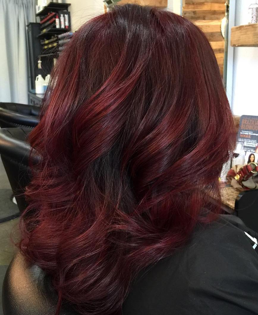 Thick Medium Length Burgundy Hair