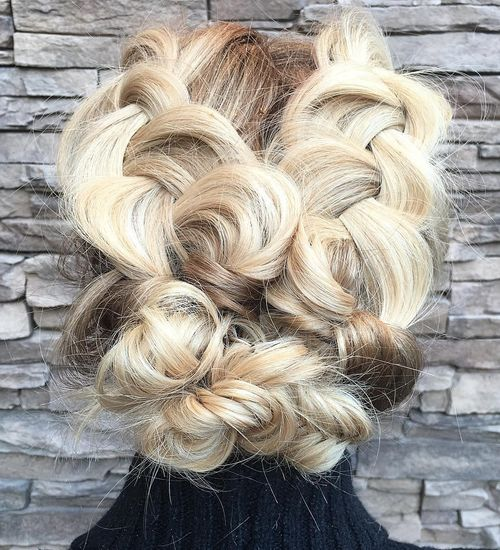 blonde updo with chunky braids