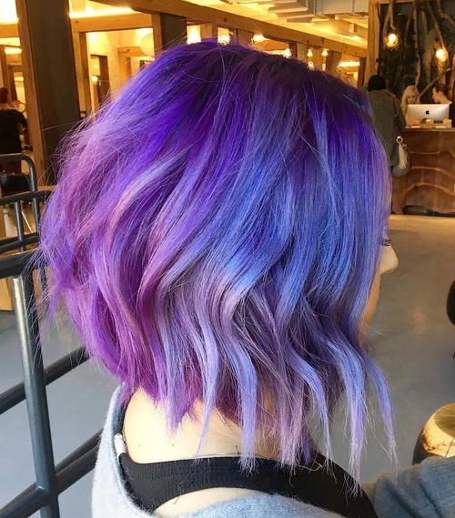 Shaggy Angled Pastel Purple Bob