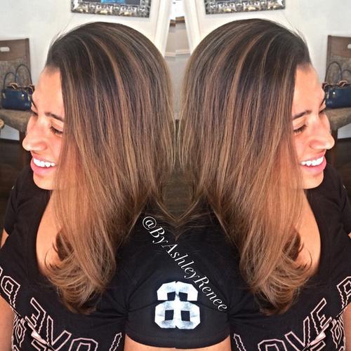 dark brown to caramel hair color