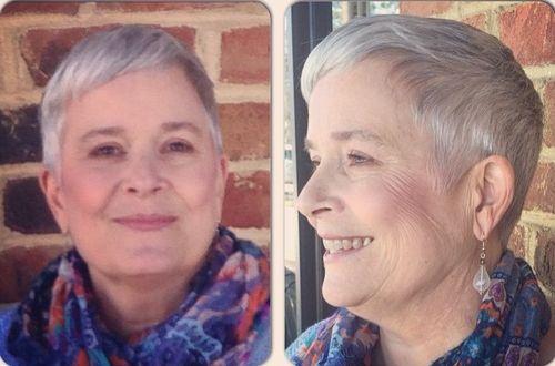 extra short older women's haircut