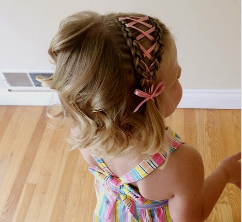 braided headband hairstyle for little girls