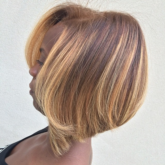 Brown Bob With Caramel Blonde Highlights