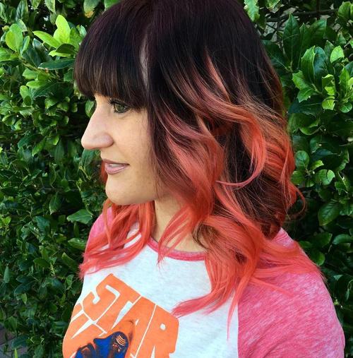 Pastel Pink Balayage For Dark Brown Hair