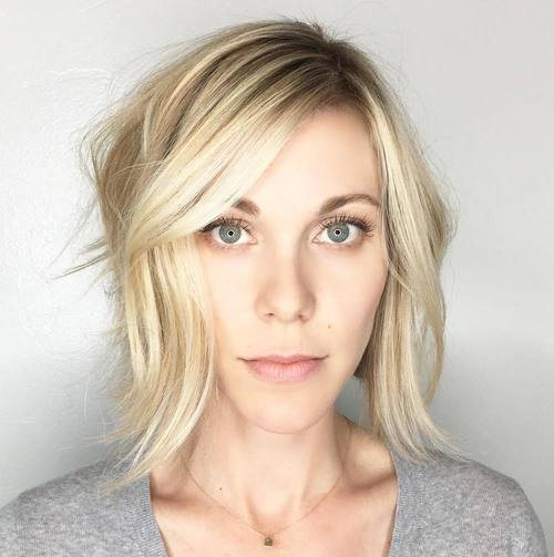 Blonde Tousled Bob With Side Bangs