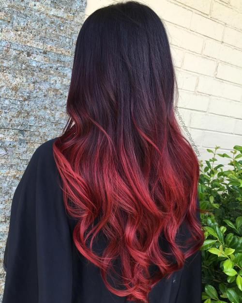 Ombre hair color red and black