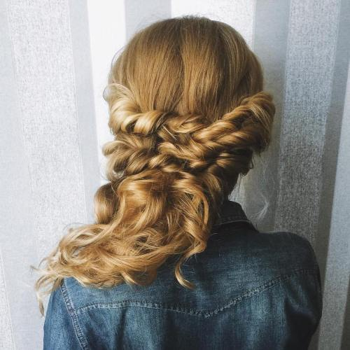 Curly Half Updo With Twist And Braid