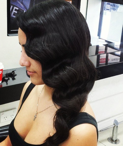 finger waves side prom hairstyle