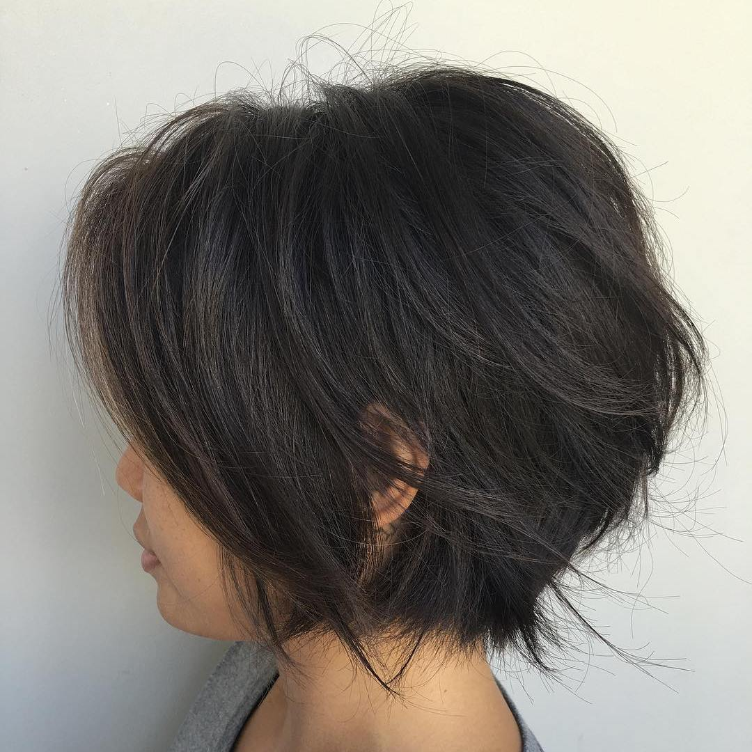 Short Black Layered Bob