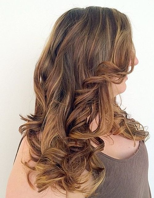 long brown hair with caramel ombre highlights