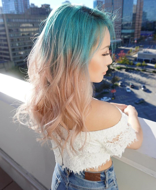 Teal To Strawberry Blonde Ombre