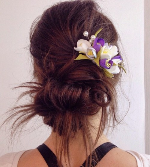 Messy Low Bun For Long Straight Hair