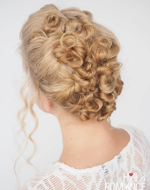 Blonde Twisted Updo For Curly Hair