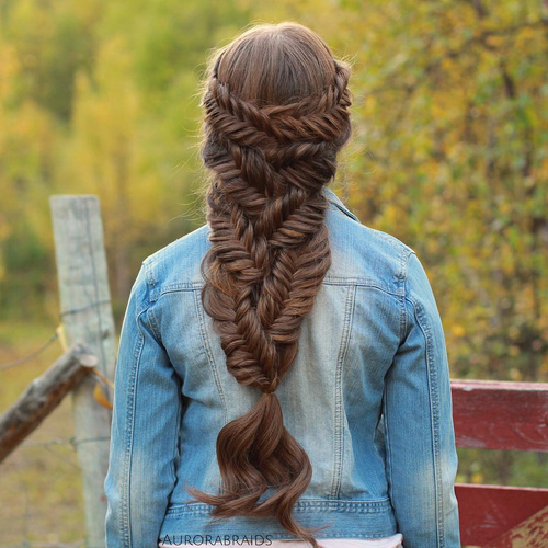 fishtail downdo for long hair