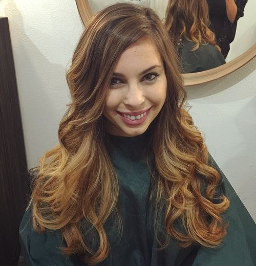 long light brown hair with caramel highlights
