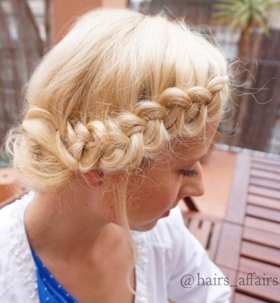 Side Braid Messy Blonde Updo