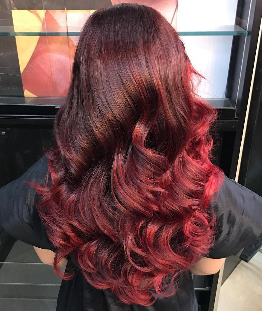 Brown Hair With Burgundy Red Ombre