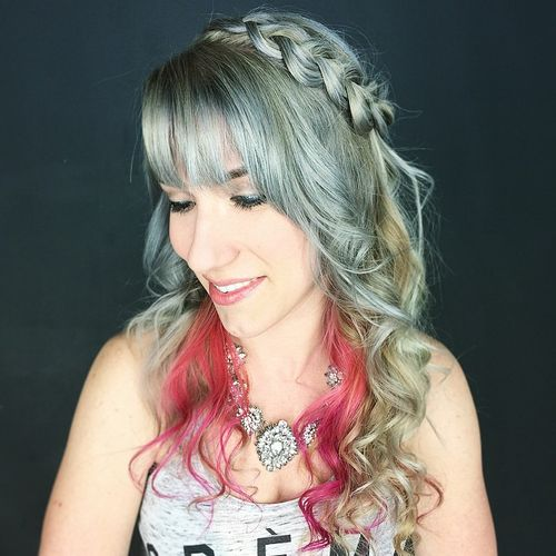 grey hairstyle with a braid and fringe
