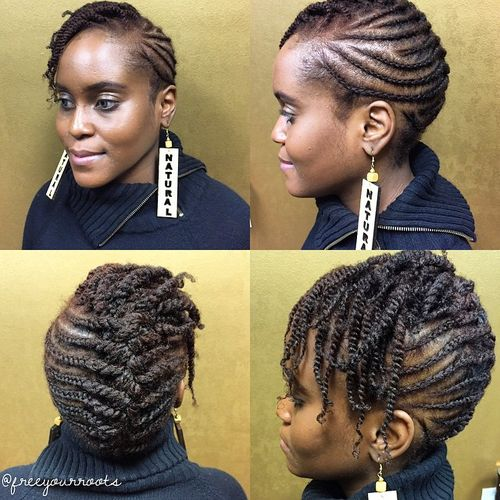 braided Mohawk for short natural hair