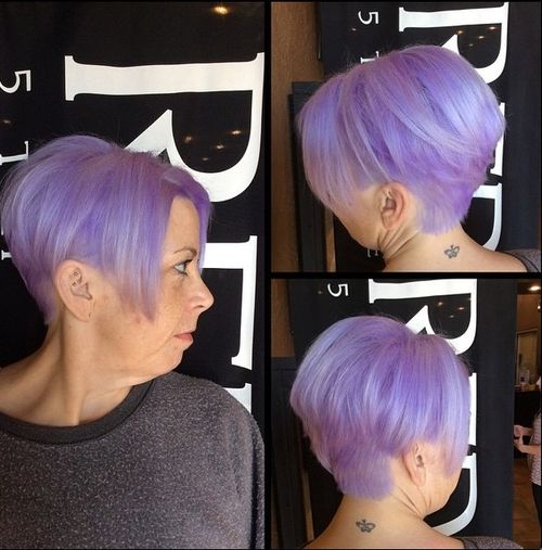 lavender stacked bob hairstyle