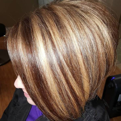 Brown Bob With Chunky Caramel Highlights