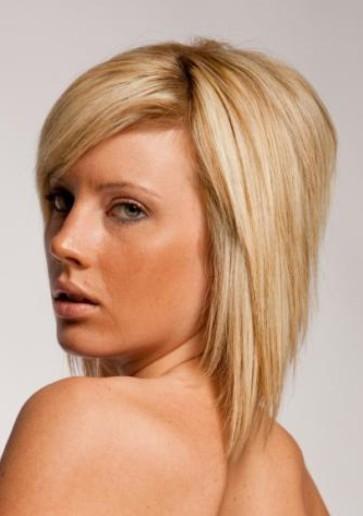 blonde straight layered bob hairstyle