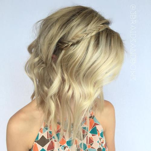 Blonde Messy Lob With A Braid