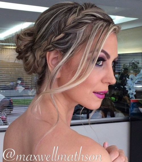 Curly Bun With A Side Braid